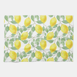 Lemon Print Kitchen Towel in Yellow and Green