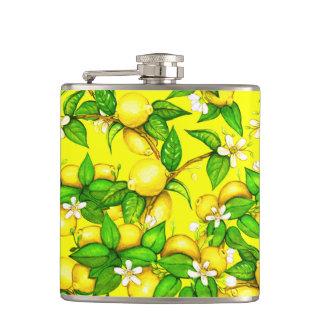 Lemon print on yellow flask