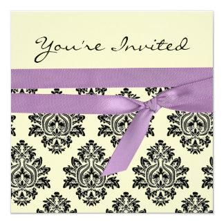 Lemon & purple linen Damask baby shower invite