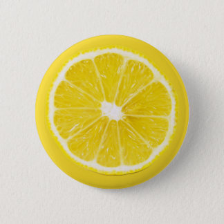 lemon slice 6 cm round badge