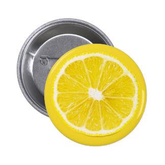 lemon slice 6 cm round badge