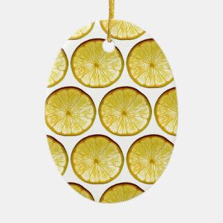 Lemon slice ceramic oval decoration
