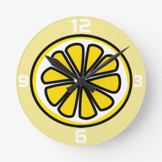 Lemon Slice Yellow White Kitchen Wall Clock