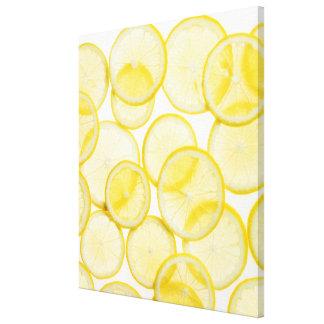 Lemon slices arranged in pattern backlit canvas print