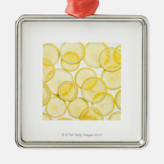 Lemon slices arranged in pattern backlit christmas ornament