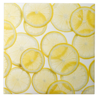 Lemon slices arranged in pattern backlit tile