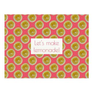 Lemon slices Let's make lemonade Postcard