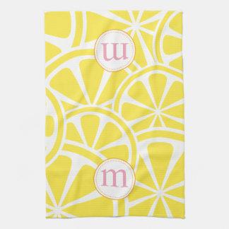 Lemon Slices Personalized Monogram Kitchen Towel