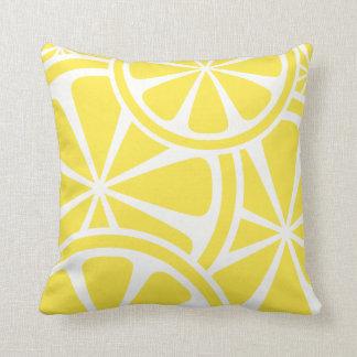 Lemon Slices Yellow Summer Throw Pillow