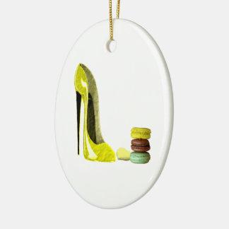 Lemon Stiletto Shoe and Macaroons Art Ceramic Oval Decoration