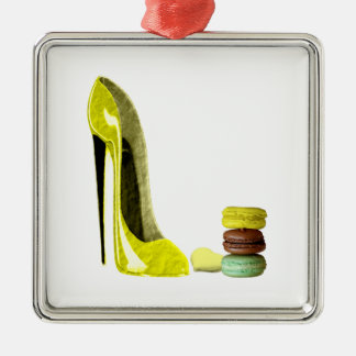 Lemon Stiletto Shoe and Macaroons Art Christmas Ornament
