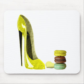 Lemon Stiletto Shoe and Macaroons Art Mouse Mat