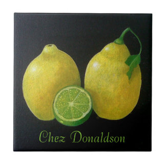 Lemon Still Life Oil on Canvas Painting customized Small Square Tile