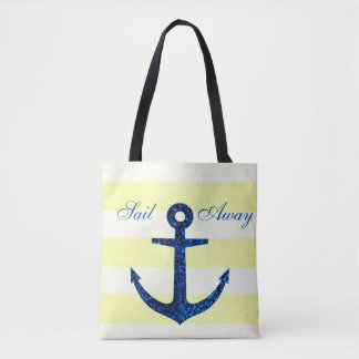 Lemon Stripe & Blue Anchor Tote