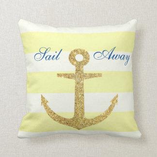 Lemon Stripe & Gold Anchor Throw Pillow