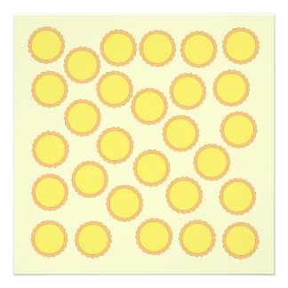 Lemon Tart Pattern Sunny Yellow Custom Invite