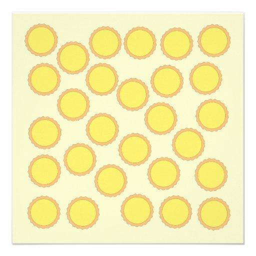 Lemon Tart Pattern. Sunny Yellow. Custom Invite