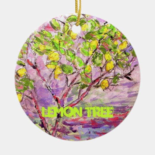 lemon tree art christmas ornament