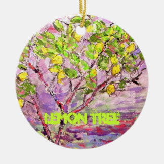 lemon tree art round ceramic decoration