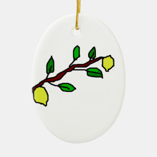 lemon twig ceramic oval decoration