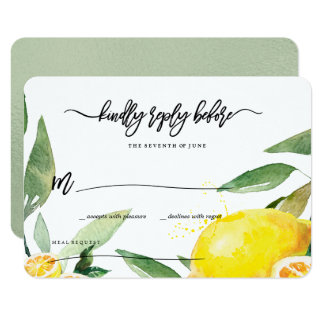 Lemon Watercolor RSVP Card