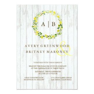 Lemon Wreath Wedding Invitation