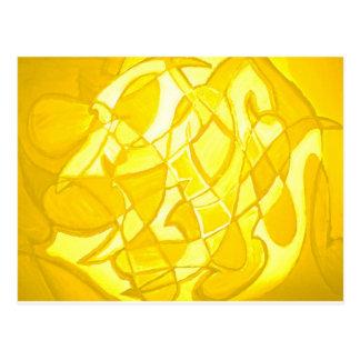 Lemon Yellow Abstract Postcard