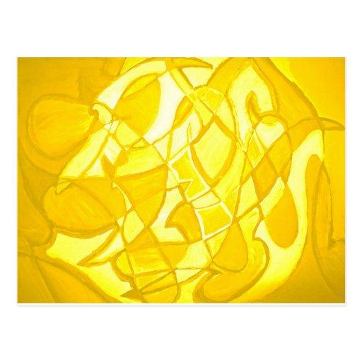 Lemon Yellow Abstract Post Card