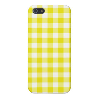 Lemon Yellow and White Check Gingham Case For iPhone 5/5S