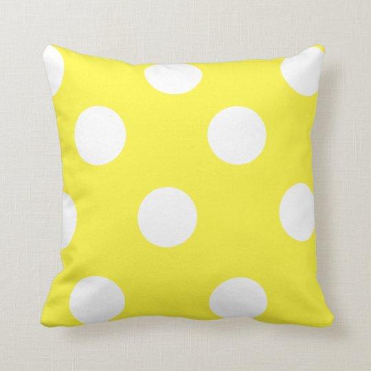 Lemon Yellow and White Polka Dot Cushion