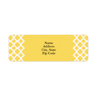 Lemon Yellow and White Quatrefoil Pattern
