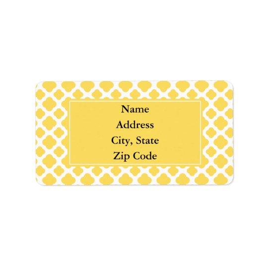 Lemon Yellow and White Quatrefoil Pattern Address Label