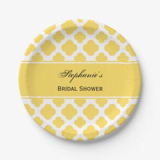 Lemon Yellow and White Quatrefoil Pattern Bridal 7 Inch Paper Plate