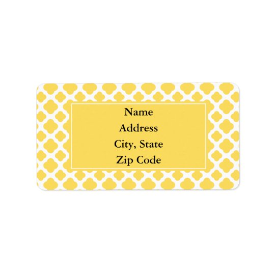 Lemon Yellow and White Quatrefoil Pattern Label