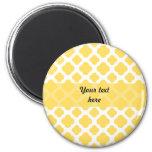Lemon Yellow and White Quatrefoil Pattern Fridge Magnet