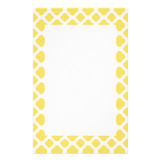 Lemon Yellow and White Quatrefoil Pattern Stationery Paper