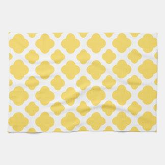 Lemon Yellow and White Quatrefoil Pattern Tea Towel