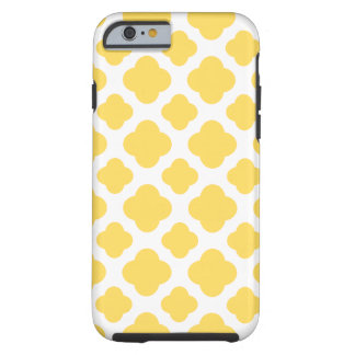Lemon Yellow and White Quatrefoil Pattern Tough iPhone 6 Case