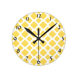 Lemon Yellow and White Quatrefoil Pattern Wall Clock
