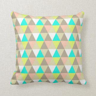 Lemon Yellow Aqua Coral Bright Triangles Pattern Throw Pillow