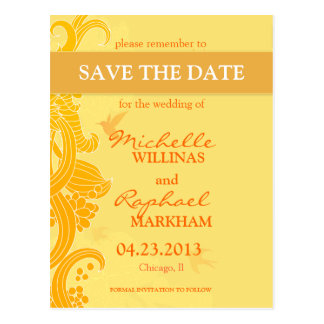 Lemon Yellow Birds Wedding Save the Date Postcard