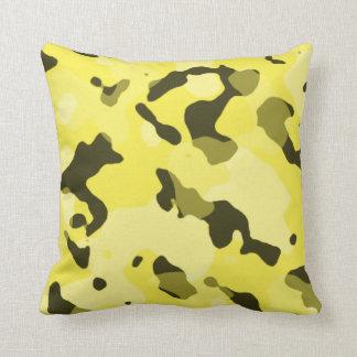 Lemon Yellow Camo; Camouflage Throw Pillow