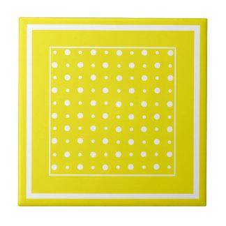 Lemon Yellow Ceramic Tile, White Polka Dots Tile