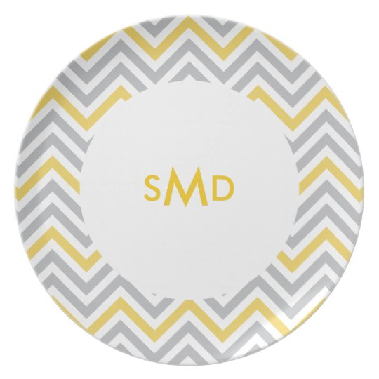 Lemon Yellow Chevron Monogram Plate