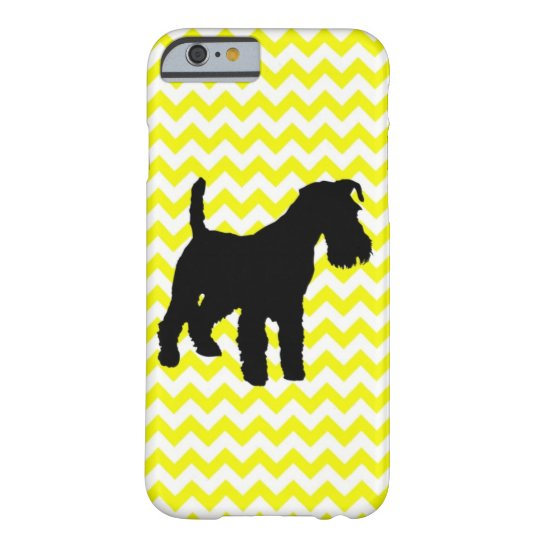 Lemon Yellow Chevron With Schnauzer Silhouette Barely There