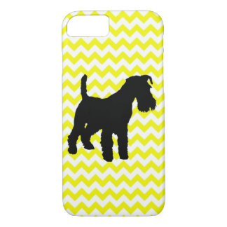 Lemon Yellow Chevron With Schnauzer Silhouette iPhone 7 Case