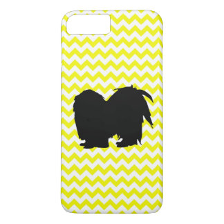 Lemon Yellow Chevron With Shih Tzu Silhouette iPhone 7 Plus Case