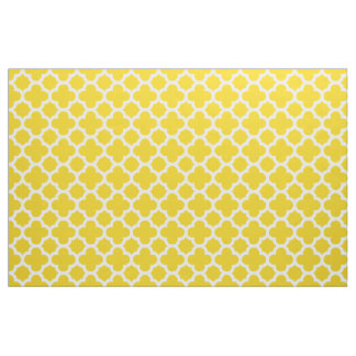 Lemon Yellow Classic Quatrefoil Pattern Fabric