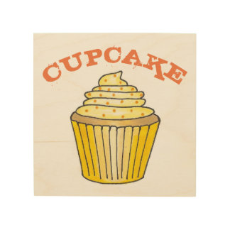 Lemon Yellow Cupcake Cake Sprinkles Food Kitchen Wood Wall Art
