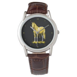 Lemon Yellow Dripping Wet Paint Horse Watch